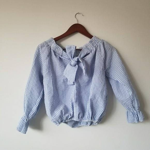 435f727858 SHEIN Tops | Nautical Blue White Pinstripe Puff Sleeve Blouse | Poshmark